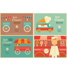 Ice Cream Posters Set vector image vector image