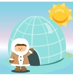 Igloo Ice Hhouse Eskimo On Isolated And boy vector image vector image