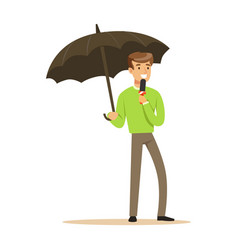 man reporter with microphone stands under umbrella vector image vector image