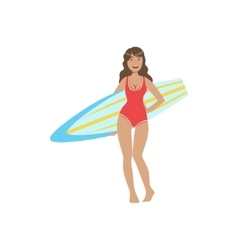 Woman In Red One-piece Swimsuit Pasing With vector image vector image
