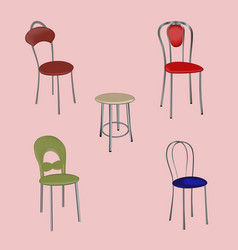 a group of detached modern design chairs on a vector image