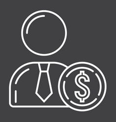 Investor line icon business and finance vector
