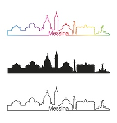 Messina skyline linear style with rainbow vector image vector image