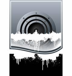 music skyline grunge lined background vector image