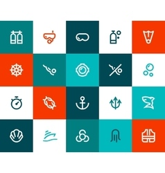 Scuba diving icons flat style vector