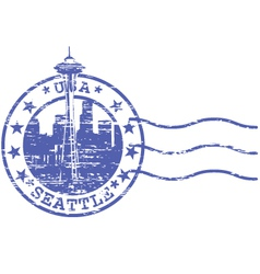 Shabby stamp with cityscape of Seattle - sights of vector image