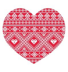 Traditional Ukrainian red folk art heart pattern vector image
