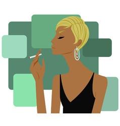 woman smoking a cigarette vector image