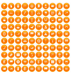 100 asian icons set orange vector