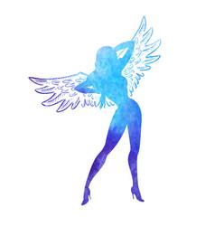 angel watercolor girl vector image