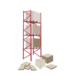 Cargo Shelf in A Warehouse With Crates vector image
