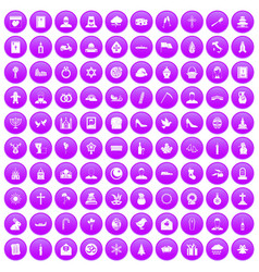 100 church icons set purple vector