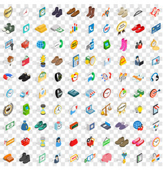 100 e-commerce icons set isometric 3d style vector
