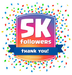 5000 followers thank you design card vector