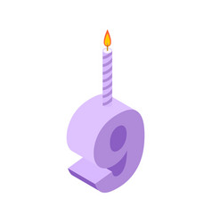 9 number and candles for birthday nine figure vector