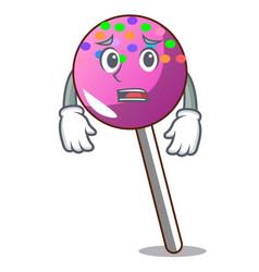 Afraid lollipop with sprinkles mascot cartoon vector