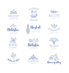 Alternative medicine logos vector