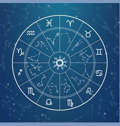 Astrology magic circle zodiac signs on horoscope vector
