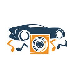 Audio car system music disc logo template vector