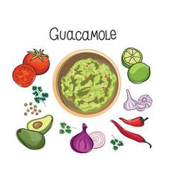 Avocado guacamole recipe ingredients vegetable vector