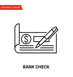 Bank check icon thin line vector