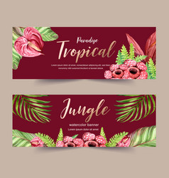 Banner design with red-toned creative watercolor vector
