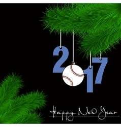 Baseball ball and 2017 on a Christmas tree branch vector