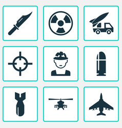 battle icons set collection of ordnance target vector image