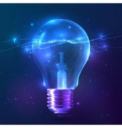 Blue shining bulb with lightning inside vector