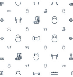 Bodybuilding icons pattern seamless white vector