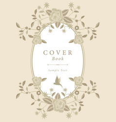 Book cover with decorative embroidery frame in vector