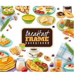 Breakfast frame background vector
