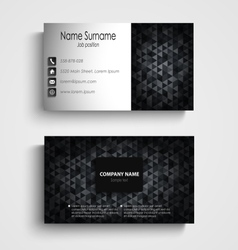 Business card with dark abstract triangles vector