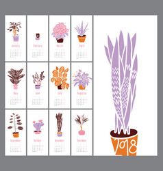 calendar 2018 indoor plants and flowers hand vector image