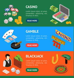 casino and gambling game banner horizontal set vector image