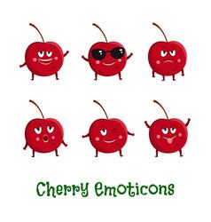 Cherry smiles cute cartoon emoticons emoji icons vector