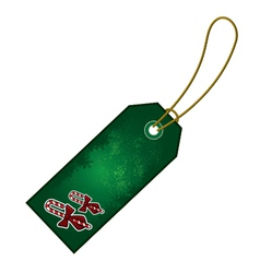 christmas candy cane gift tag vector image