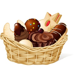 Christmas still life with basket full of cookies vector