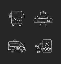 city public transport chalk white icons set vector image