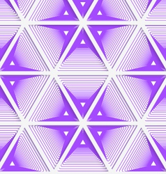 Colored 3D purple striped hexagonal grid vector image