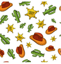 Cowboy seamless pattern wild west rodeo or vector