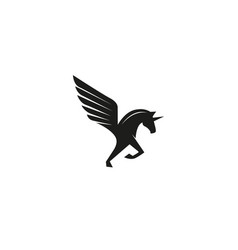 Creative abstract black winged unicorn logo vector