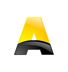 creative yellow and black symbol letter a for your vector image