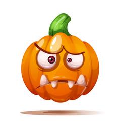 Cute funny crazy pumpkin characters halloween vector