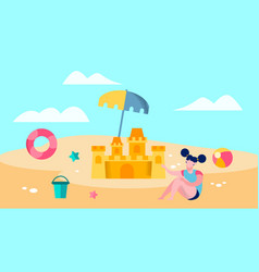 cute girl playing on beach vector image