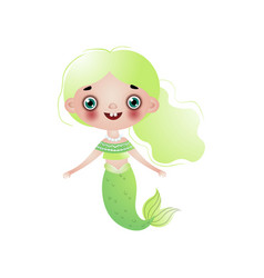 cute smiling mermaid girl with light green wavy vector image