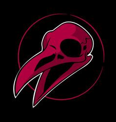 dead red bird skull on black background vector image