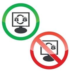 Dollar-euro trade monitor permission signs vector image