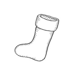 doodle of christmas sock vector image