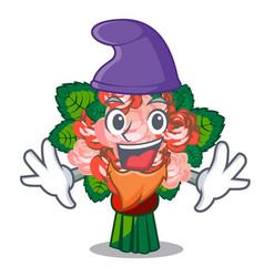 elf flower bouquet on wooden cartoon table vector image